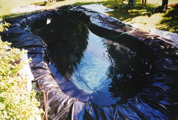 La construction d 39 un bassin tape par tape et en images for Bache pvc etang